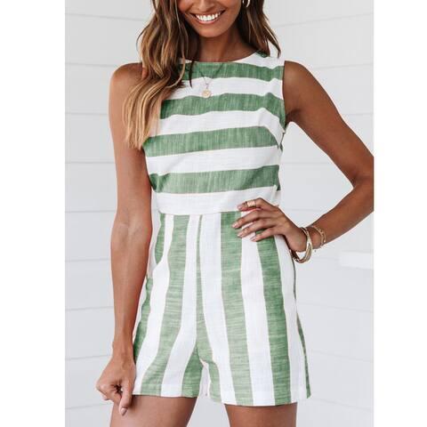 Retro Green, Blue Non-Sleeves Bateau Neckline Jumpsuit Relax Fit
