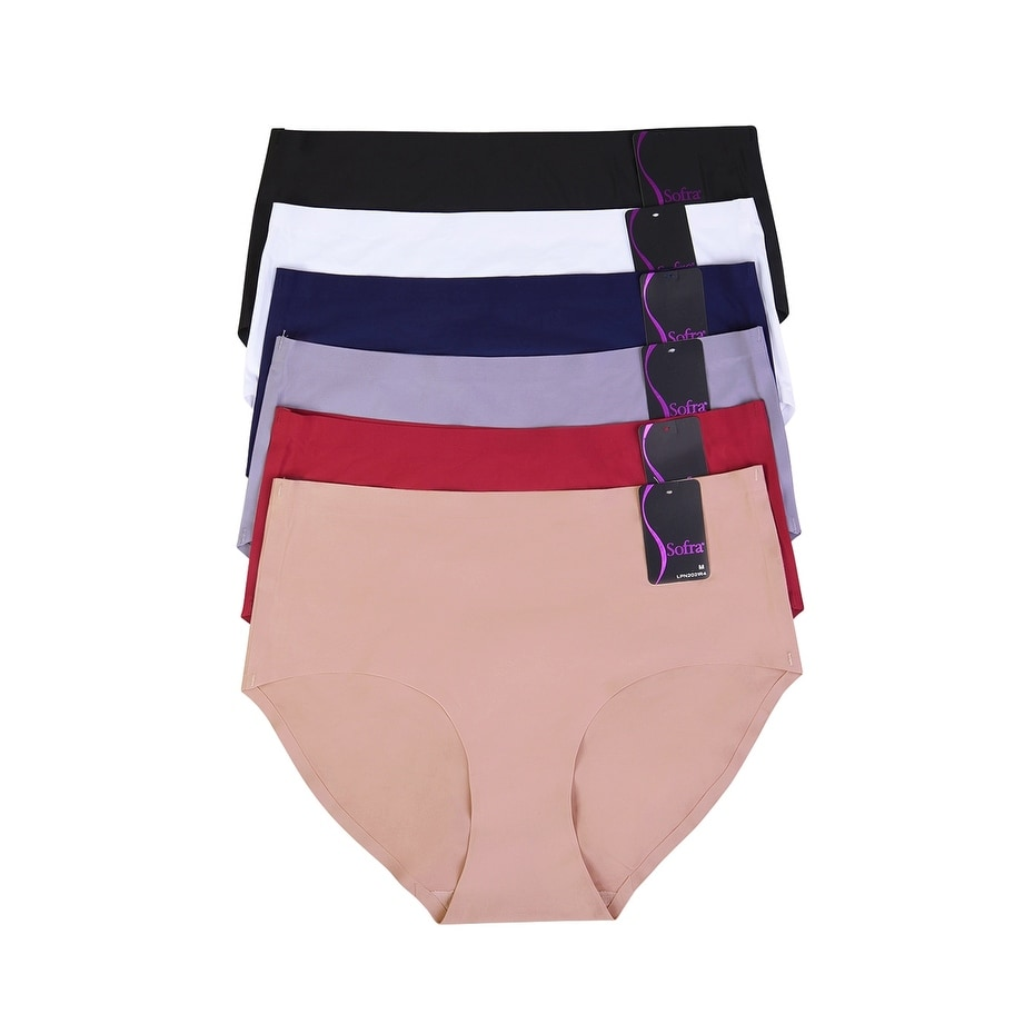 6-PAIRS Mopas Womens No Show Brief Panty (LPN2021R4_6PK)
