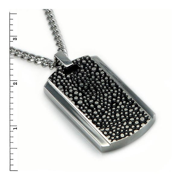 Stainless Steel Men's Stingray Design Pendant - 24 inches
