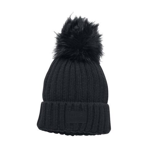 Under Armour Womens Snowcrest Pom Beanie Hat, Black, One Size - One Size