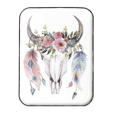 Stratton Home Decor Handcrafted Boho Cow Skull Wall Art - Multi
