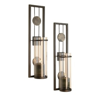 "Danya B QBA636 16"" Tall Single Candle Wall Sconces with Glass Shades - Set of 2"