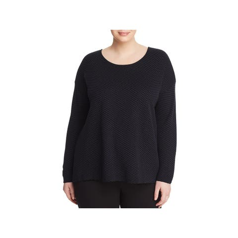 Eileen Fisher Womens Plus Pullover Sweater Round Neck Jacquard