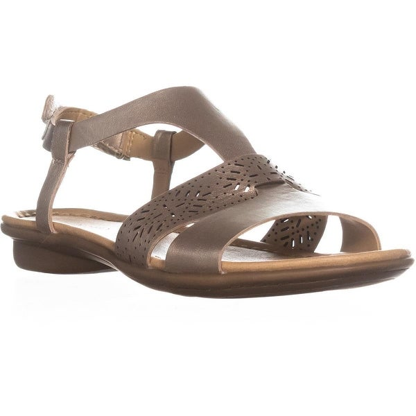 Naturalizer Westly Flat Buckle Sandals, Gold Leather