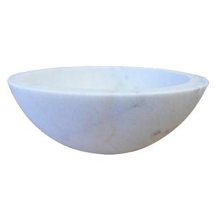 Eden Bath Small Vessel Sink Bowl - Honed White Marble