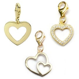 Julieta Jewelry Double Heart, Heart, CZ Heart 14k Gold Over Sterling Silver Clip-On Charm Set