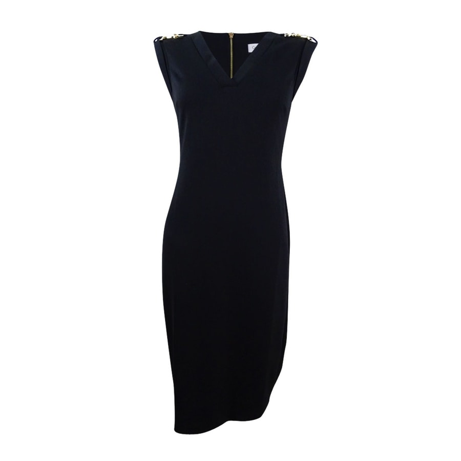 Calvin Klein Womens Embellished Shoulder Sheath Dress