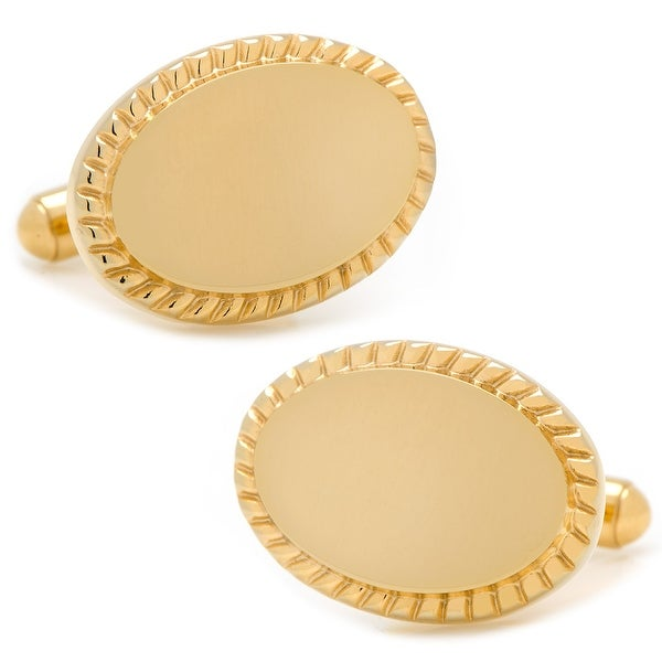 Gold-Plated Rope Border Oval Engravable Cufflinks