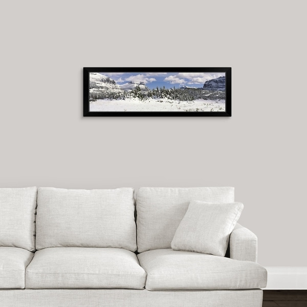 """""""Mountains with trees in winter, Logan Pass, US Glacier National Park, Montana"""" Black Framed Print"""