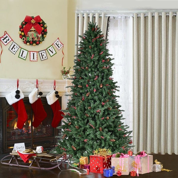 Costway 6FT Artificial PVC Christmas Tree 1388 Tips Green w/Pine Cones & Red Berries