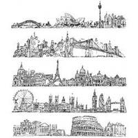 """Cityscapes - Tim Holtz Cling Rubber Stamp Set 7""""X8.5"""""""