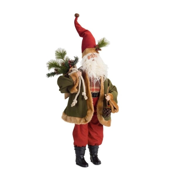 "30"" Green and Red Christmas Santa Figurine with Pine Needles Tabletop"
