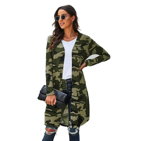 Cali Chic Women's Long Sleeve Sweater Celebrity Green Camo Print Long Cardigan