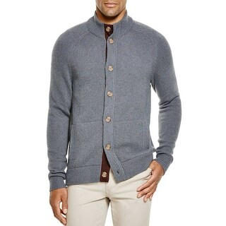 Bloomingdales Mens 2-Ply Cashmere Mock Neck Cardigan Sweater X-Large Blue Hazel