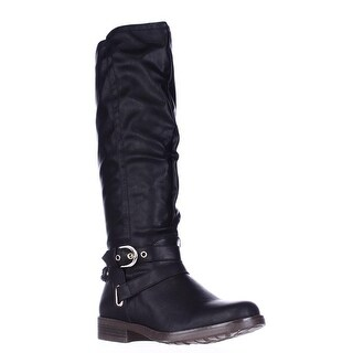 XOXO Martin Wide Calf Braided Strap Riding Boots, Black