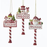 Pack of 12 Red and White Glittered Santa Claus & Snowman North Pole Christmas Ornaments 4.25""