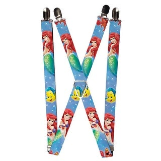 Buckle Down Kids' Elastic Disney Little Mermaid Clip End Suspenders - Blue - One size