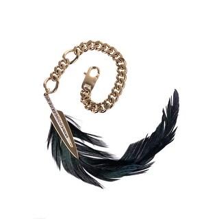 Roberto Cavalli Black Green Luminescent Feather Arrow Charm Keychain