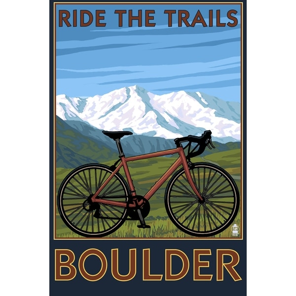 Boulder, CO - Mountain Bike - LP Artwork (100% Cotton Towel Absorbent)