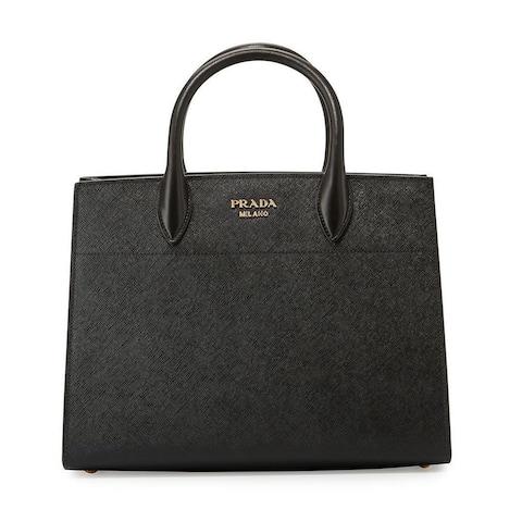 Prada Bibliotheque Saffiano Lux City Leather Black White Handbag 1BA049