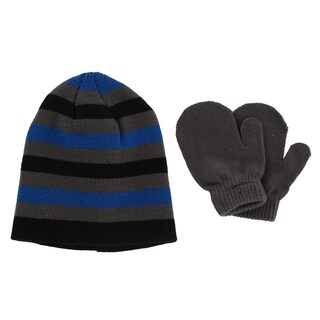 Grand Sierra Toddler Boys' 2-4 Striped Acrylic Knit Hat and Mitten Set