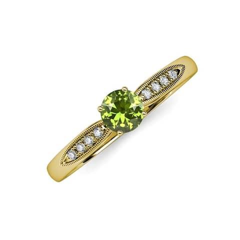 TriJewels Peridot Diamond 1 1/4 ctw Womens Engagement Ring 14K Gold