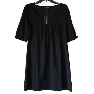 French Connection Bell Sleeve 100% Cotton Shift Mini Dress Black