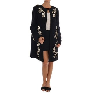Dolce & Gabbana Black Floral Crystal Cape Coat Jacket - it48-xl