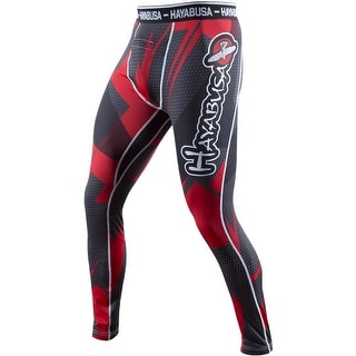 Hayabusa Metaru 47 Silver Compression Pants - Black/Red - mma grappling bjj