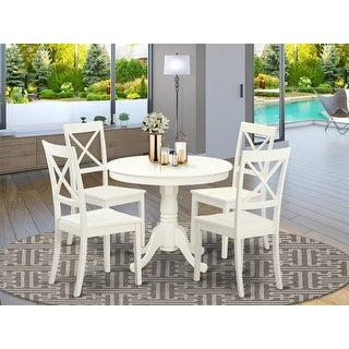 Link to ANBO-LWH-W 3 PC set-Table and 2 Wood Kitchen Chairs in Linen White. Similar Items in Dining Room & Bar Furniture
