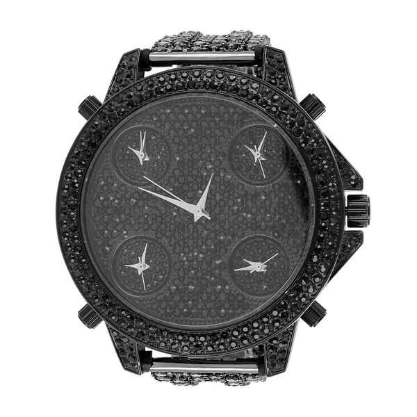 Black Iced Out Watch 4 Time Zone Look Analog Stainless Steel Back Rapper Hip Hop
