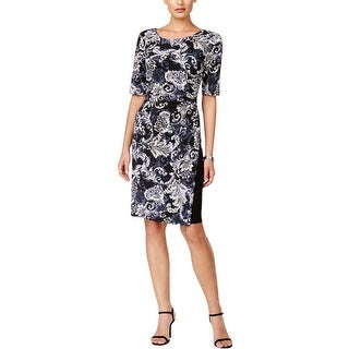 Connected Apparel Womens Petites Wear to Work Dress Printed Professional