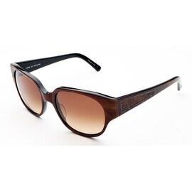 Judith Leiber Women's Floral Motif Sunglasses Topaz/Onyx - Small