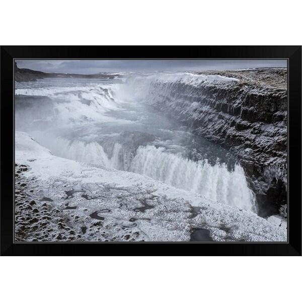 """Gullfoss Waterfall, (Golden Falls), Iceland"" Black Framed Print"