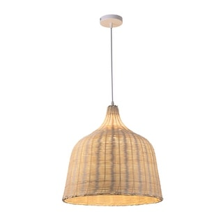 Link to Natural Rattan Lantern Pendant Light on Adjustable Cable - 14 x 14 x 14 inches Similar Items in Lamp Shades
