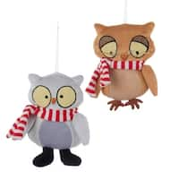 "5"" Ronnie Rooney Plush Snow Owl Christmas Ornament with Striped Scarf"
