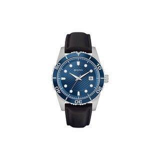 Link to Bulova Mens 98B274 Stainless Blue Dial Black Leather Strap Watch - Silver-Tone Similar Items in Men's Watches