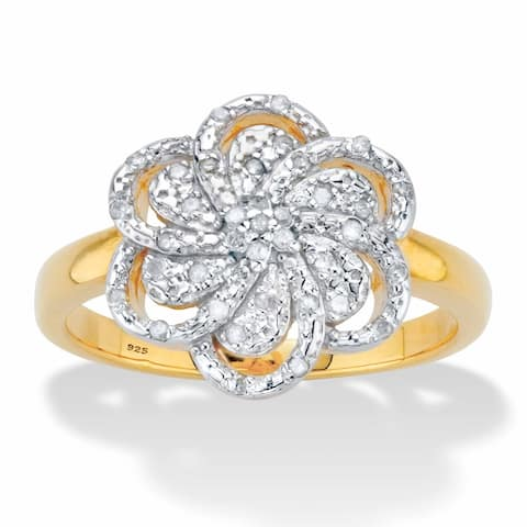 Yellow Gold over Sterling Silver Genuine Diamond Flower Ring (1/8 cttw) (IJ Color, I2-I3 Clarity)
