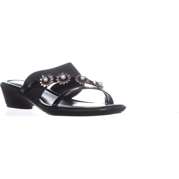 Tuscany by Easy Street Paradiso Flower Wedge Sandals, Black Patent