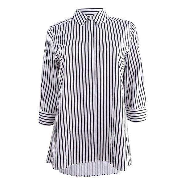 a1097dd4bceaa Kasper Women's Petite Pinstriped Shirt (4P, Black/White) - Black/White - 4P