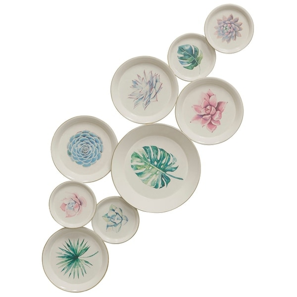 "StyleCraft SC-WI42747 19 1/8"" x 47 1/8"" Iron Botanical Painted Plates Wall Sculpture - Blushing Green-Blue"