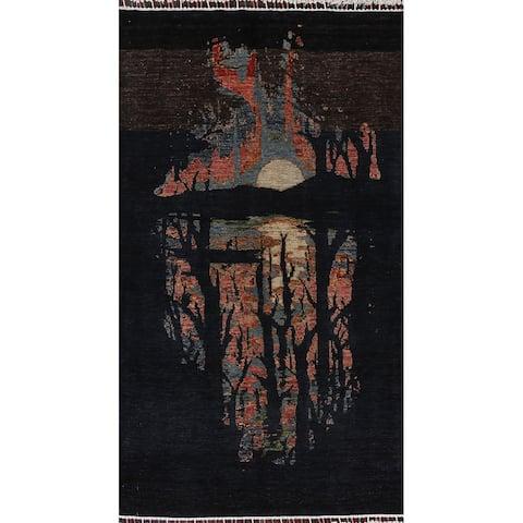 "Nature Print Abstract Vegetable Dye Oriental Wool Area Rug Handmade - 3'10"" x 6'4"""