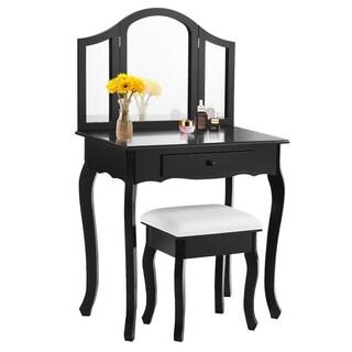 Costway Black Tri Folding Mirror Vanity Makeup Table S