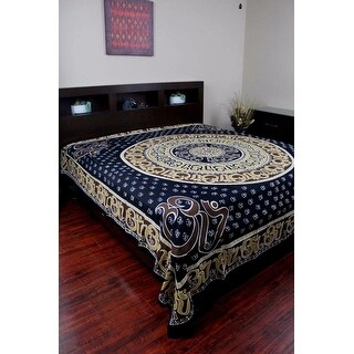 Handmade Cotton Mandala Om Print Tapestry Wall Hanging Throw Tablecloth Spread Twin Full Queen & King sized