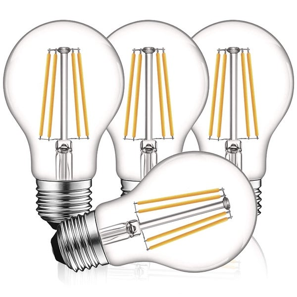 Luxrite Vintage A19 LED Light Bulbs 60W Equivalent, Dimmable, 800 Lumens, LED Edison Bulb 8W, E26 Base (4 Pack). Opens flyout.