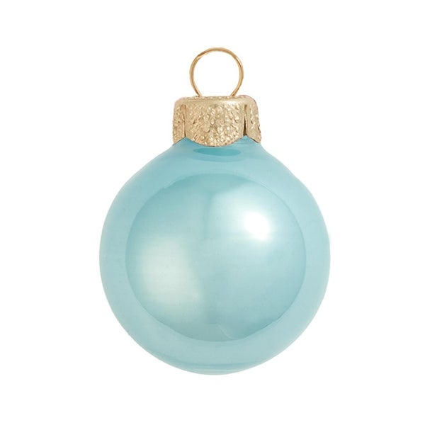 """6ct Pearl Baby Blue Glass Ball Christmas Ornaments 4"""" (100mm)"""
