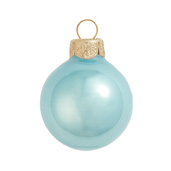 """8ct Pearl Baby Blue Glass Ball Christmas Ornaments 3.25"""" (80mm)"""