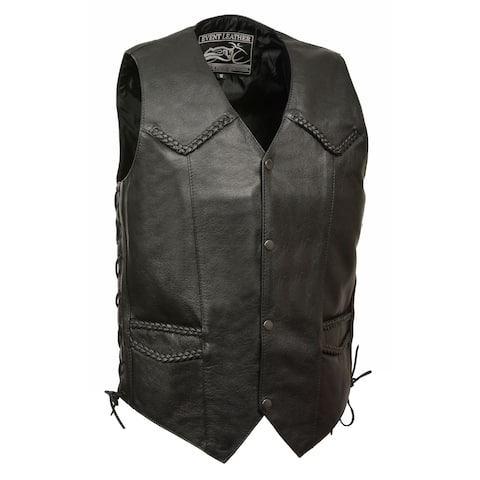Mens Classic Leather Side Lace Biker Vest with Braiding