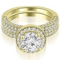 1.60 cttw. 14K Yellow Gold Halo Round Cut Diamond Bridal Sett,HI,SI1-2