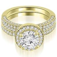 1.85 cttw. 14K Yellow Gold Halo Round Cut Diamond Bridal Set